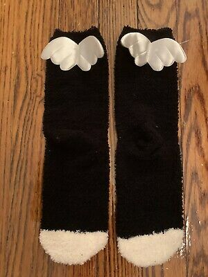$9.99 • Buy Urban Outfitters Fuzzy Super Soft Fluffy Black Socks Cushion White Angel Wings
