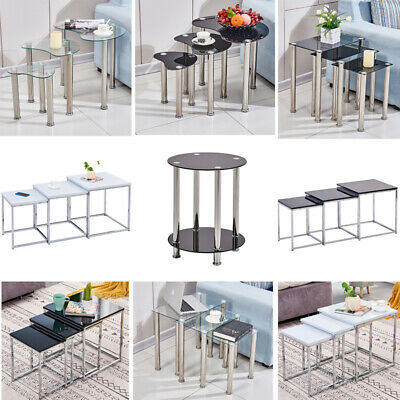 Nest Of 3 Nested Nesting Tables Side End Coffee Table Glass/Wood For Living Room • 35.99£