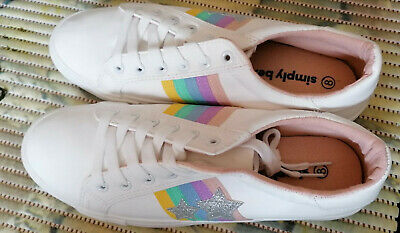 Simply Be White Trainers Size UK 8.  EURO 41. EXTRA WIDE FIT (Free Post) • 14.99£