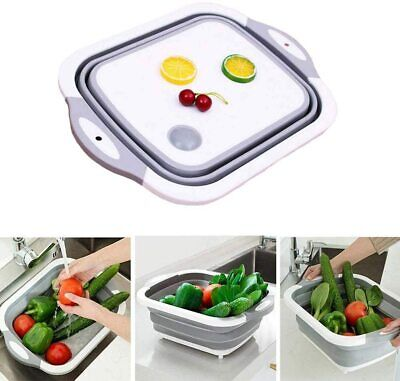 Collapsible Colander Fruit Vegetable Washing Drain Basket Folding Basin Kitchen • 7.95£