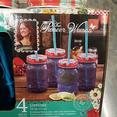 Pioneer Woman Sapphire Mason Jar 16oz Glasses With Lids And Straws Set Of 4 New • 21.63£