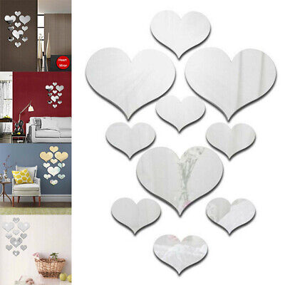 £2.26 • Buy 10Pcs Acrylic Love Heart Shaped Wall Stickers Mirror Decal Home Background Decor