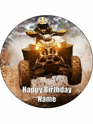 AU14.95 • Buy Quad Bikes 19cm Cake Toppers Edible Icing Image Birthday Cake Decorations #1