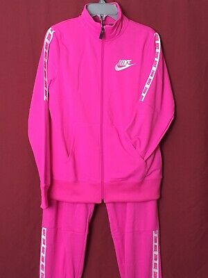Nike Tracksuit Girls Age 13-15 Joggers And Track Top Pink With White Detail  • 37.29£