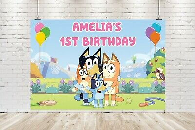 AU20 • Buy Personalised Bluey Banner / Backdrop Birthday Poster 1st 2nd 3rd *DIGITAL FILE*