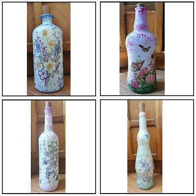 £20 • Buy Butterflies And Roses, Flowers, Hyacinths, Decoupage Bottle Lamp Led Light