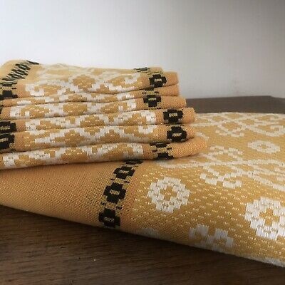 Vintage 1970 French Tablecloth & 6 Matching Napkins-Mustard Yellow-Berthoud Rita • 24.99£
