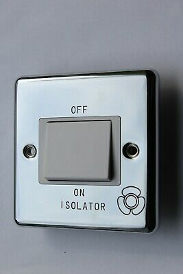 Contractor + CP1518 Polished Chrome 10A 3 Pole Fan Isolator Switch White Ins • 6.19£