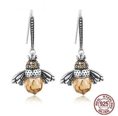 Sterling Silver Queen Bee Amber Cz Pendant Drop Earrings • 22.98£