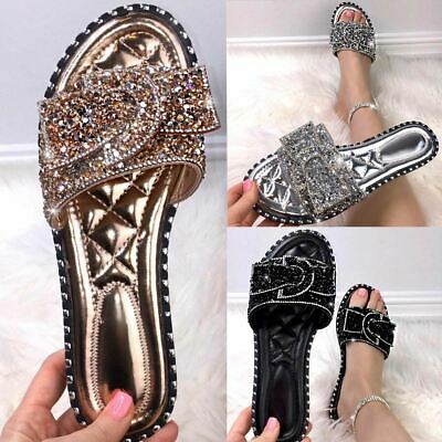 Womens Diamante Bow Flats Sandals Studded Sliders Slip On Summer Mules Size New • 14.85£