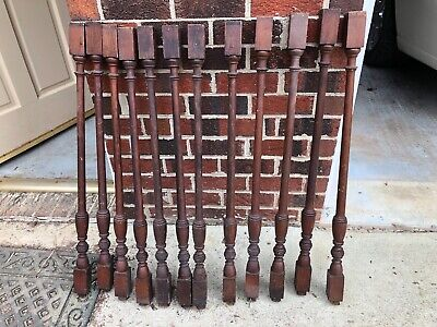 $120 • Buy Lot Of 12 Victorian Colonial Turned Wooden Spindle Balusters Posts--Salvage