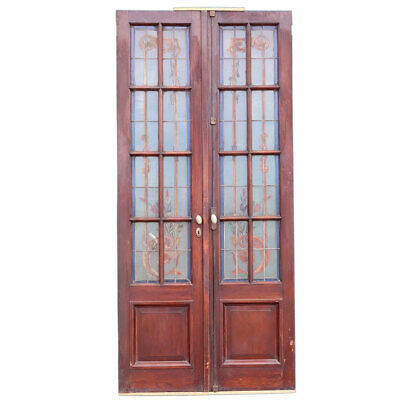$850 • Buy Antique Argentine Beaux-Arts Mahogany Leaded Painted Glass Door 19th Century