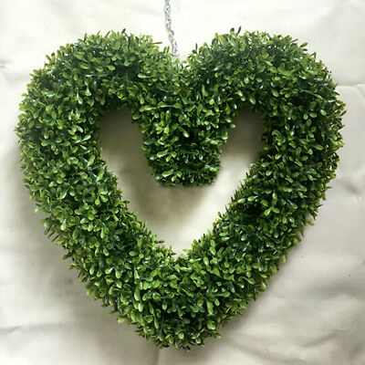 Artificial Topiary Boxwood Hanging Fake Trees Heart Garden Love Wedding Wreath • 14.95£