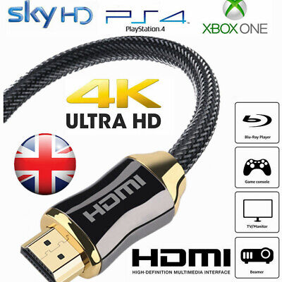 Braided HDMI Cable High Speed V2.0 Ultra HD 4K 3D ARC For PS3 PS4 XBOX HDTV UK • 3.89£