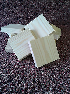 95mm SQ. PINE WOOD PLAQUES (20mm Thick) WOODEN BLOCKS BLANKS (pack 9) • 9.45£