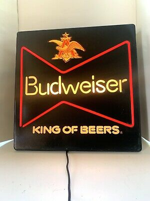 $ CDN105.20 • Buy Vintage Budweiser CRATED SHIPPING Lighted Beer Sign Working 18x18 Chipped Corner