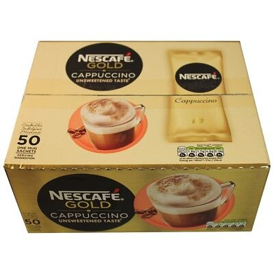 4x New Recipe Nescafe Cappuccino Gold Unsweetened Taste 50 One Cup Sachets • 48£