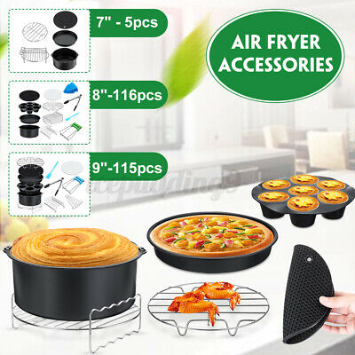 AU26.89 • Buy 7''/8''/9'' Air Fryer Accessories Rack Cake Pizza Oven Barbecue Frying Pan Tray