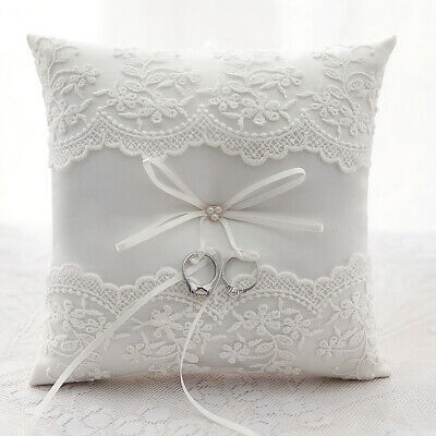 Ivory Lace Ring Pillow Wedding Ring Bearer Cushion Engagement Party New • 8.99£