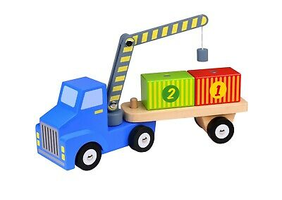 Wooden Push Along Lorry Toddler Pre School Wooden Toys With Magnetic Containers • 12.99£