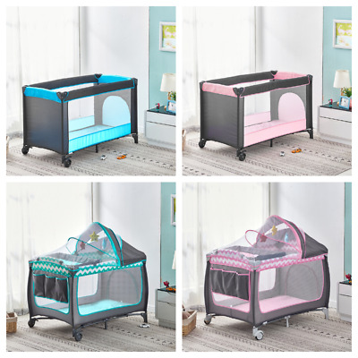 £61.99 • Buy Portable Baby Travel Cot Crib Bassinet Bed Playpen Infants With Mattress Folding