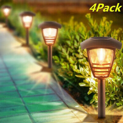 4Pcs Solar Powered Garden Lights Outdoor Path Lanterns Lamps Pathway LED Stake • 18.04£