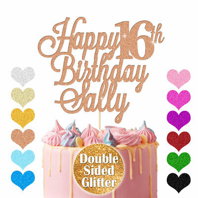 £2.99 • Buy Personalised Happy Birthday Cake Topper Any Age Any Name Party Cake Decoration