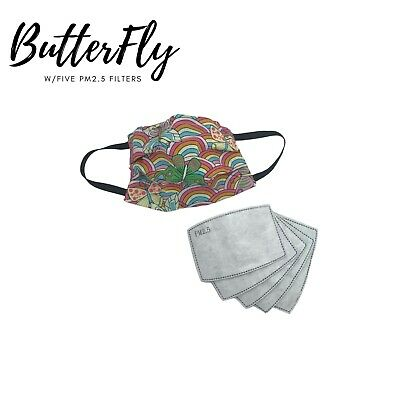 $ CDN14.99 • Buy Cotton Face Mask With 5 - PM2.5 Filters - Canadian Made, - Butterfly Pattern