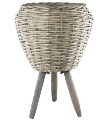 Willow Plant Pot With Legs Drum Planter Stand Flower Display Decor Garden Home • 25.99£