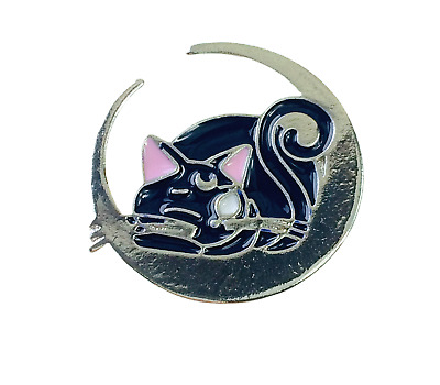 Cat Pin Badge Brooch Enamel Cat Lover Gift Silver Blue Sailor Moon Jewellery • 3.50£