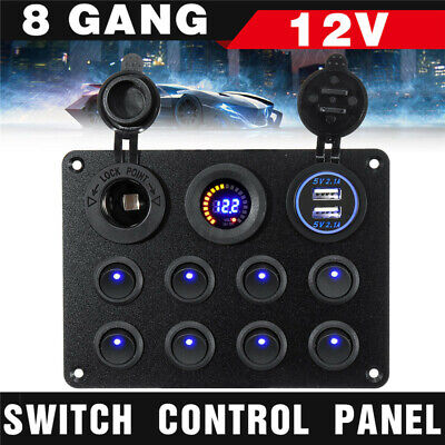 AU34.99 • Buy 8 Gang ON-OFF Toggle Switch Panel 2USB Charger 12V For Car Boat Marine RV