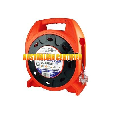 AU54.95 • Buy 15M POWER EXTENSION CORD CABLE REEL 4 WAY POWER BOARD 3 X 10A And 1 X15A OUTLET