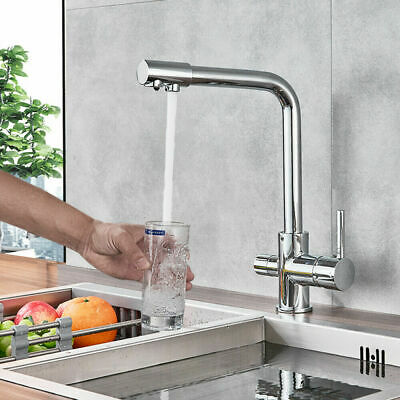 Chrome  Kitchen Sink Faucet Waterfilter Tap Mixer Drinking Water Filter 3 Way • 49£
