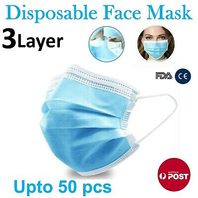 AU12.70 • Buy Disposable Face Mask 3 Layer Protective Mouth Masks Filter Respirator Daily Up50