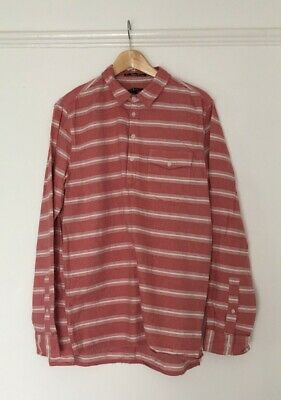 Striped Tunic Shirt Pink Red And White 100% Cotton Men's Size L • 15£