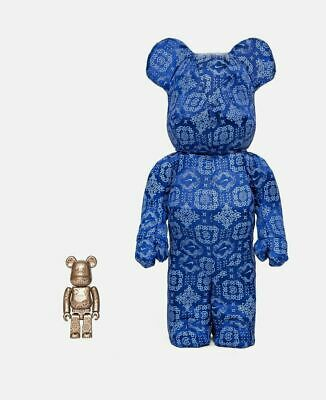 $460 • Buy Bearbrick X Clot X Nike 100% & 400% Set Royale University Blue Silk, Be@rbrick
