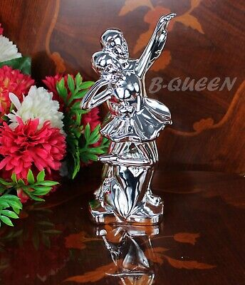 Silver Chrome Ceramic Romantic Dancing Couple For Valentin's Day, Wedding Gift • 15.99£