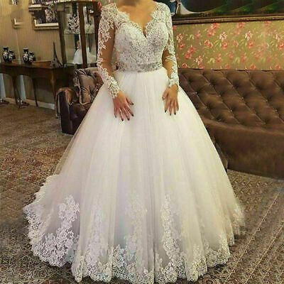 $ CDN154.62 • Buy Long Sleeve Applique Wedding Dresses V Neck A Line Bridal Ball Gowns Plus Size
