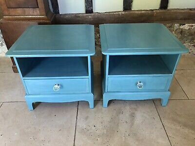 Hand Painted Pair Of Stag Minstrel Bedside Cabinets In Annie Sloan • 125£