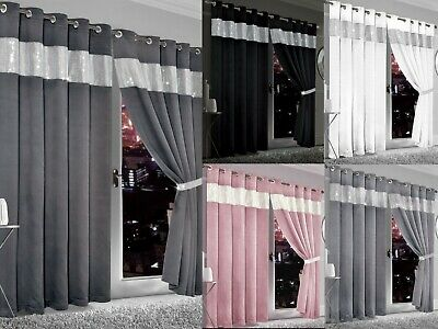 Diamante Blackout Curtains Thermal Curtain Pair Eyelet Ring Top Ready Made Ties  • 27.99£