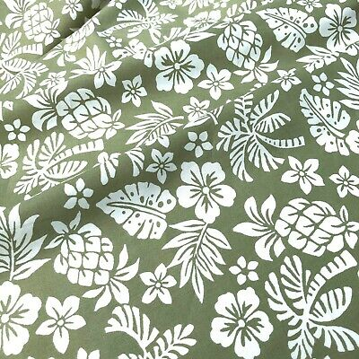 GREEN Tropical Hawaiian Floral Pure 100% Cotton FABRIC Dressmaking Craft Bunting • 6.50£