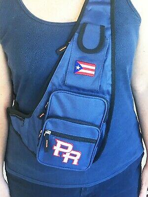 $12.99 • Buy Puerto Rico Cross Body Bag With 6 Pockets, 5 Of Them With Zipper. Embroidered Fl