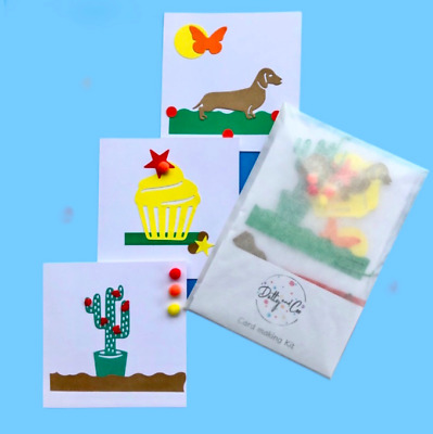 Children's Card Making Kit*Craft Kit*Cupcake Cactus Dachshund Cards*Gifts*  • 2.99£
