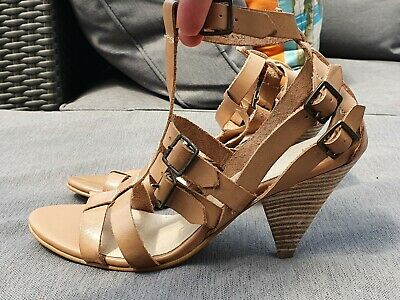 💥 BRAND NEW ASOS Tan Leather Gladiator Cone Heel Sandals Shoes UK4 • 9.99£