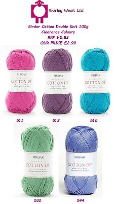 Sirdar Cotton Double Knit Clearance 100g - RRP £5.83 - OUR PRICE £2.99 • 2.99£
