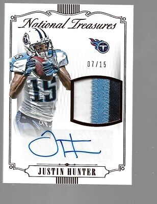 $30 • Buy JUSTIN HUNTER 2015 National Treasures Rookie Patch Autograph 7/15 Tennessee