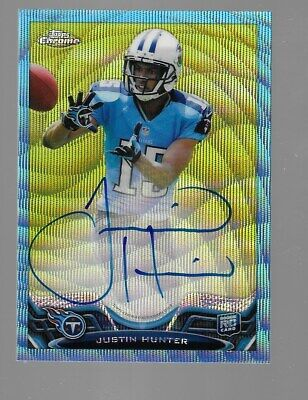 $19.95 • Buy JUSTIN HUNTER 2013 Topps Chrome Rookie Auto Blue Wave Refractor Parallel 29/50