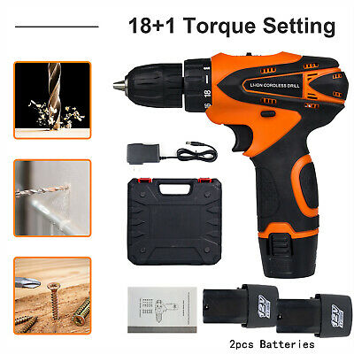 "View Details 12V Cordless Drill Electric Screwdriver 3/8""Mini Wireless Power Driver+2 Battery • 32.98$"