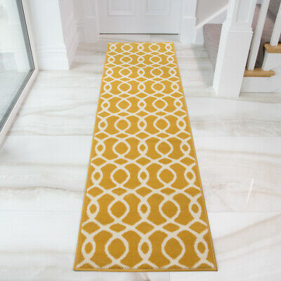 Ochre Yellow Nautical Rug Small Large Living Room Rugs Geometric Hallway Runners • 11.95£