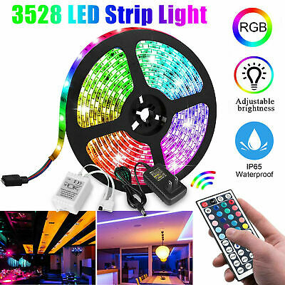 $12.99 • Buy 5M 16.4ft RGB Waterproof 300 LED 3528 SMD Flexible Strip Light 12V+Remote+Power
